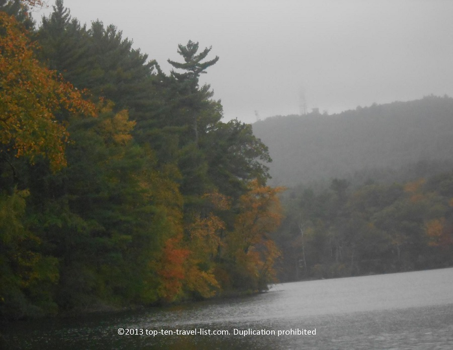 Fall colors at Houghton Pond in Massachusetts