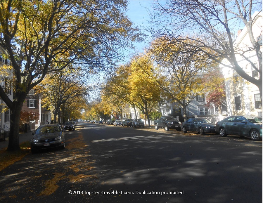 Fall colors lining the streets of Salem, Massachusetts