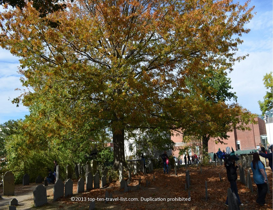 Salem MA - fall colors at Old Burying Point Cemetery