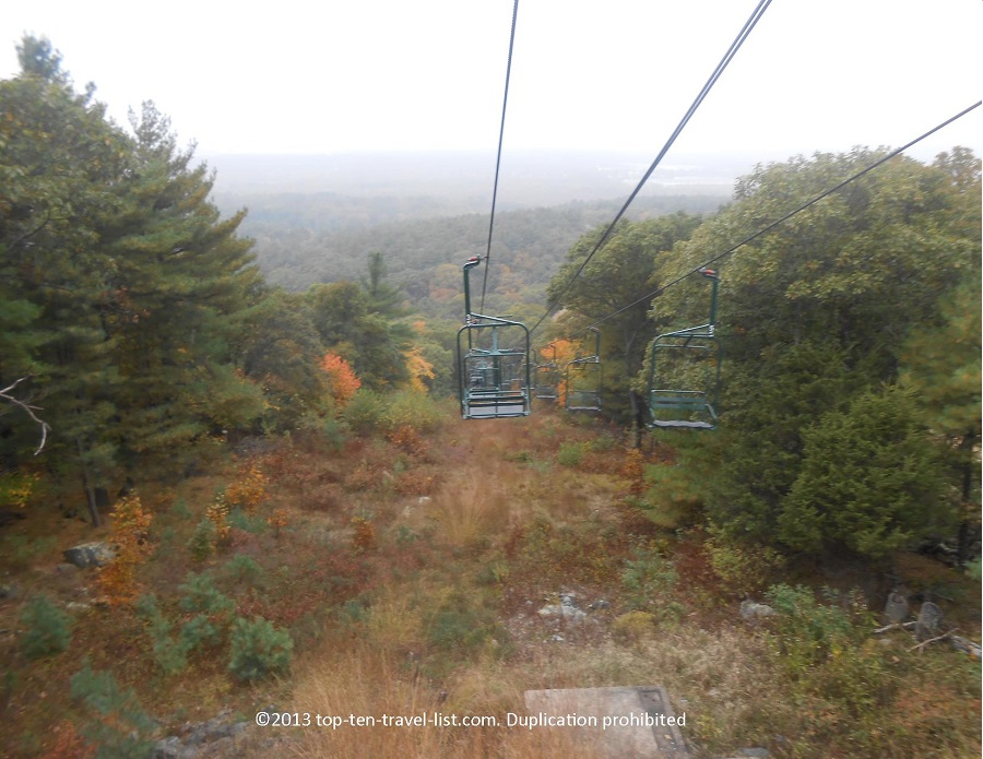 Foliage chairlift ride at Blue Hills Ski Area in Massachusetts