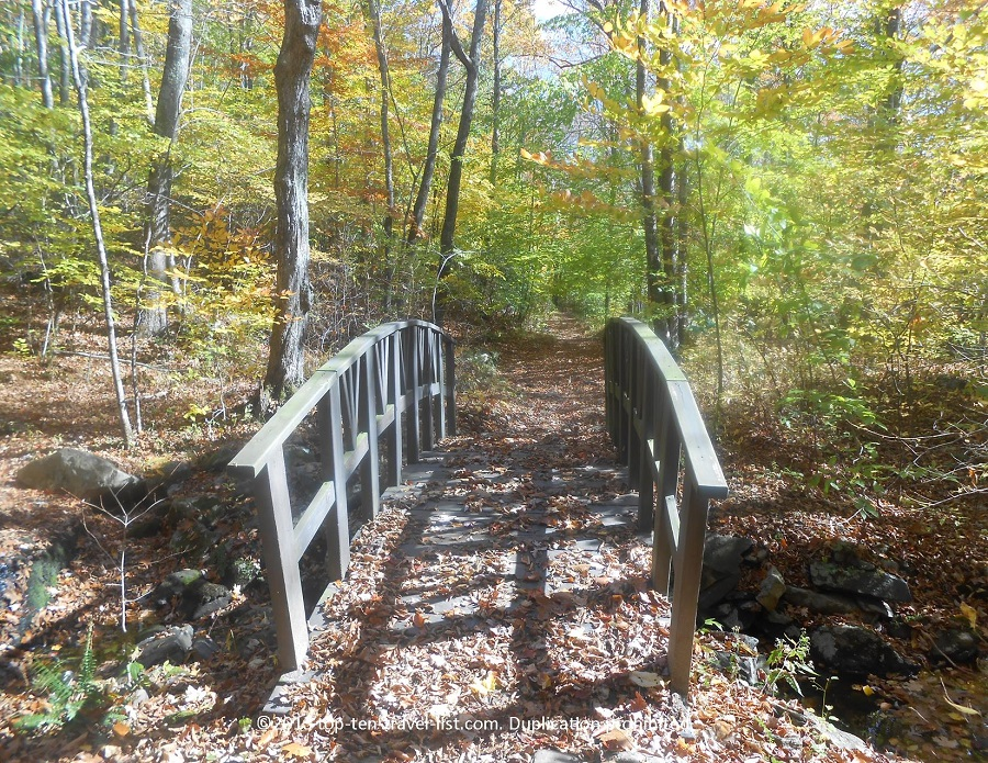 Bridge and fall colors at Devil's Hopyard State Park