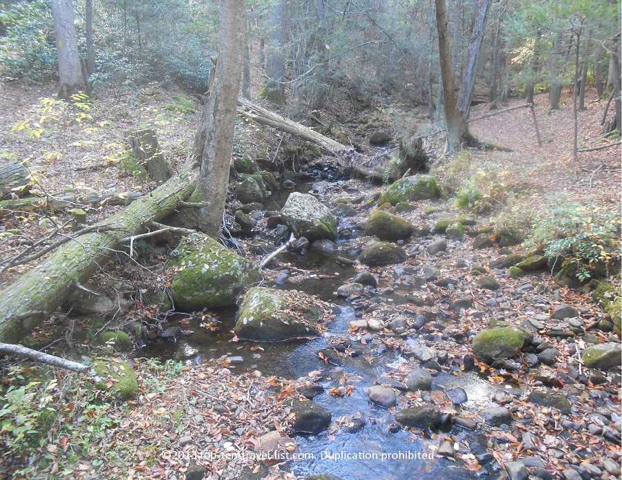 Pretty stream along Devil's Hopyard red trail in CT