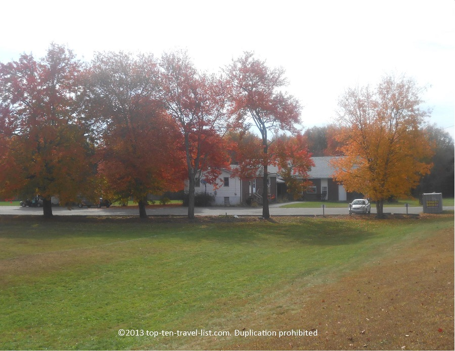 Beautiful row of fall foliage in Middleboro, Massachusetts