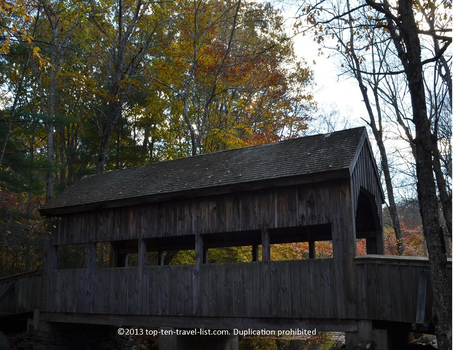 Side view of a covered bridge at Devil's Hopyard State Park in CT