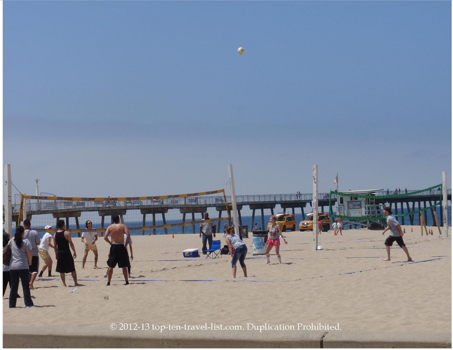 Volleyball game in Hermosa Beach, California