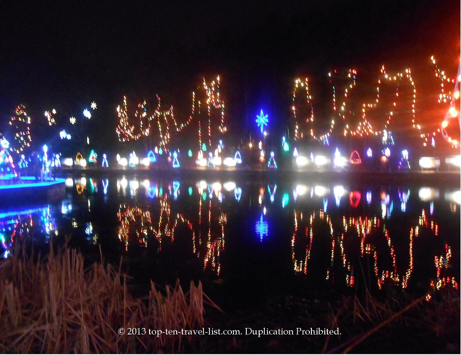 Lights over the pond at La Salette during the Festival of Lights