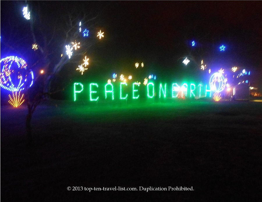 Peace on Earth sign at La Salette Festival of Lights