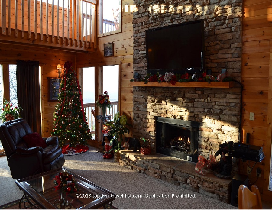 Living room of Life's a Bear cabin rental in Gatlinburg TN