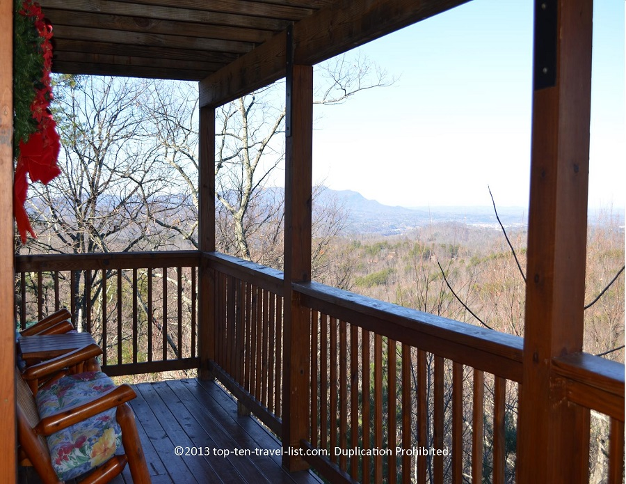 Wooden rocking chairs at Life's a Bear cabin rental in Gatlinburg TN