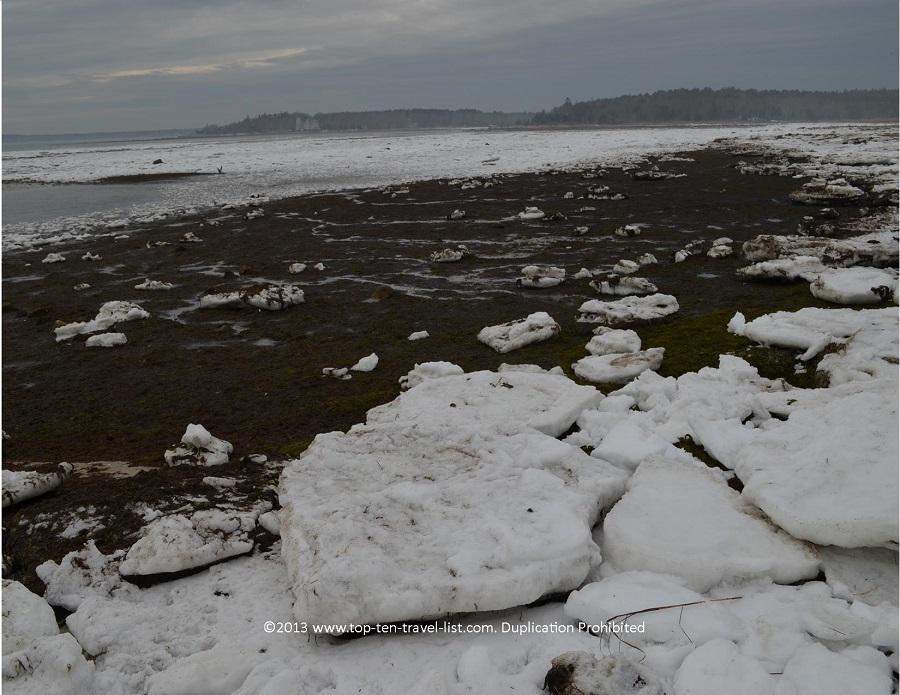 Beatiful winter views at Little Harbor beach in Wareham, MA