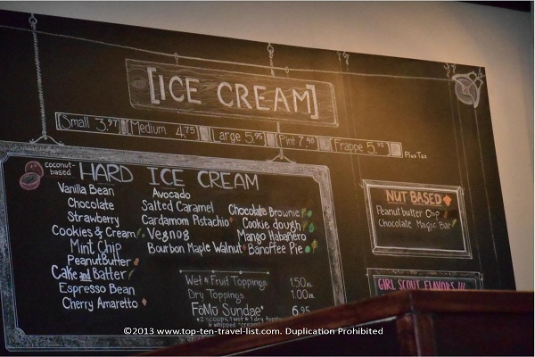 Vegan ice cream menu at FoMu in Allston, MA