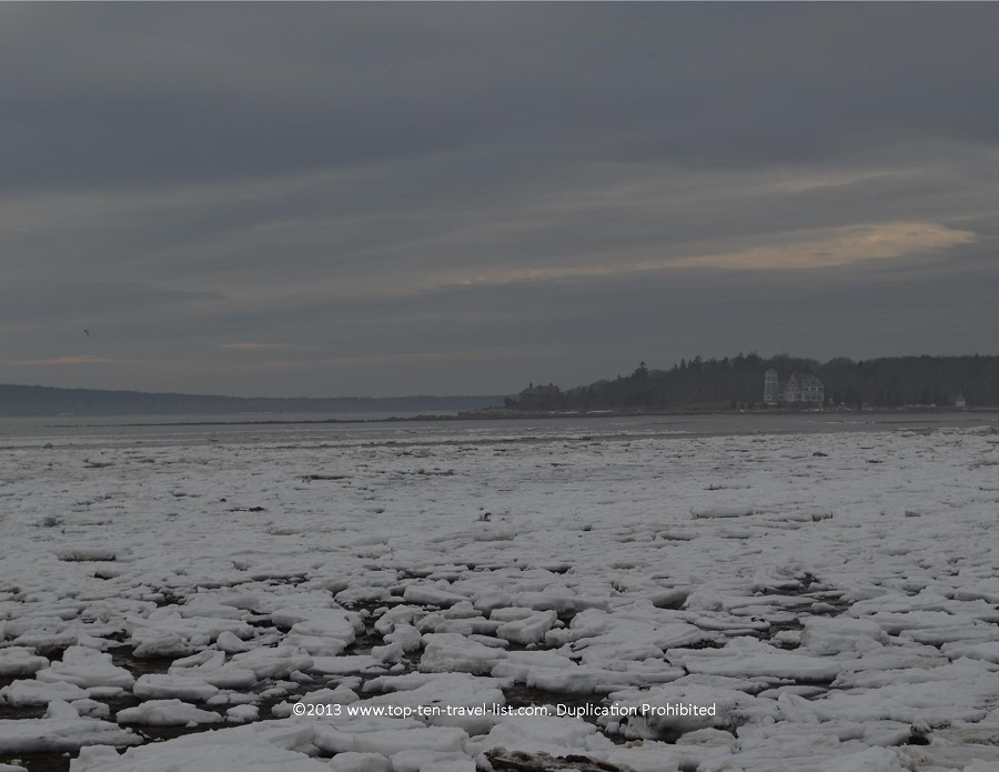 Icy winter views at Little Harbor Beach in Wareham, MA