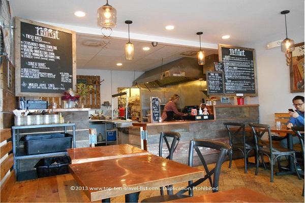 Juice bar menu at Root in Allston, Massachusetts