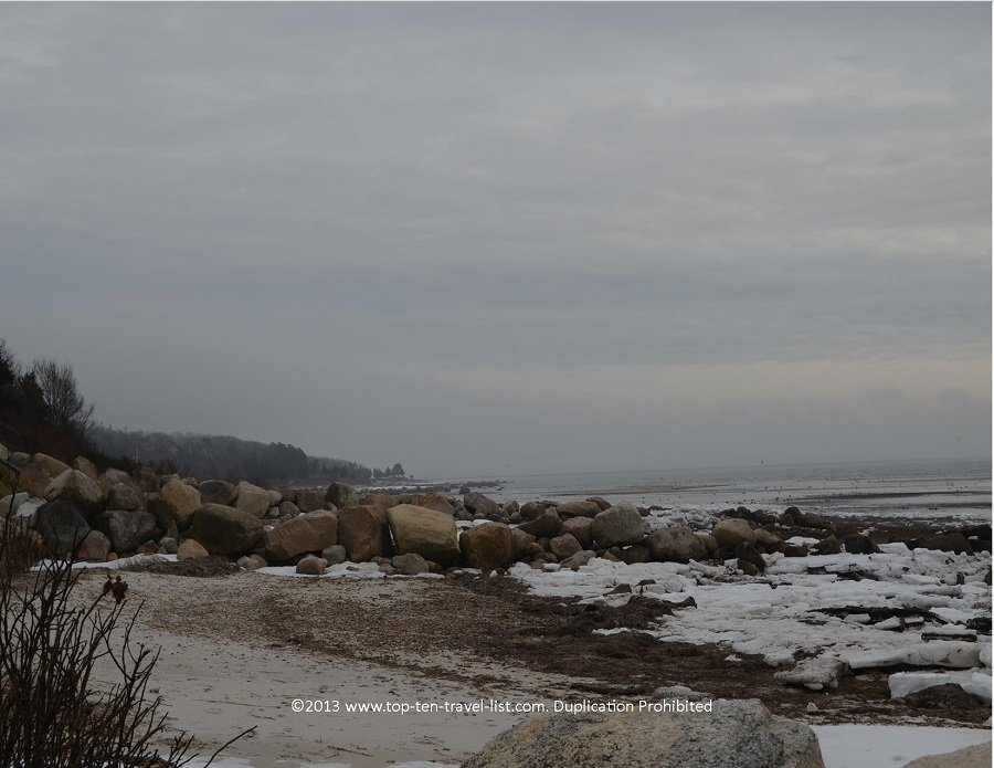 Winter views at Little Harbor Beach in Wareham, MA