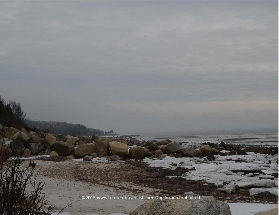 Winter views at Little Harbor Beach in Wareham, MA