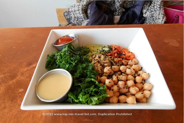 Macrobowl at vegan restaurant Root in Allston, Massachusetts