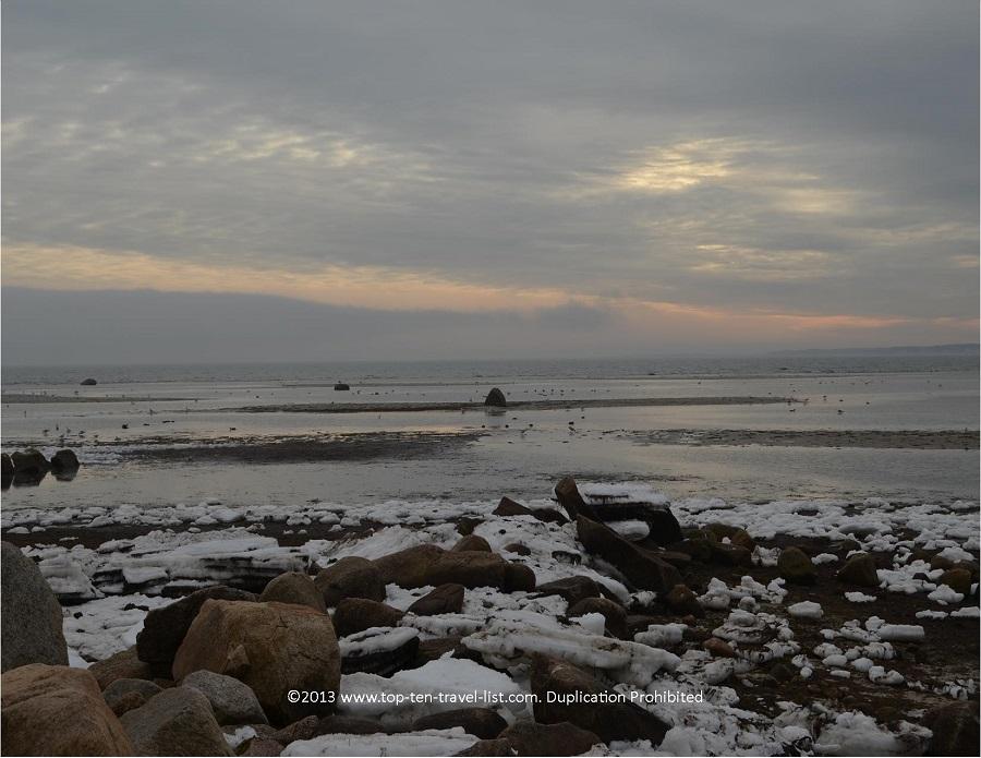 Winter scenery at Little Harbor Beach in Wareham, MA