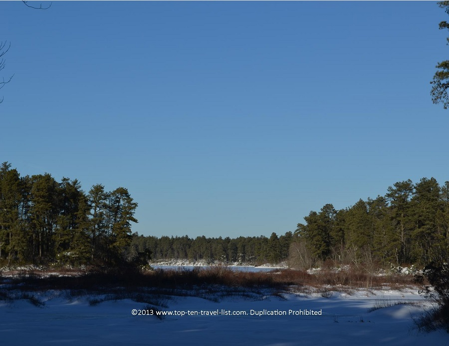 Winter lake views at Myles Standish State Forest - Carver, MA