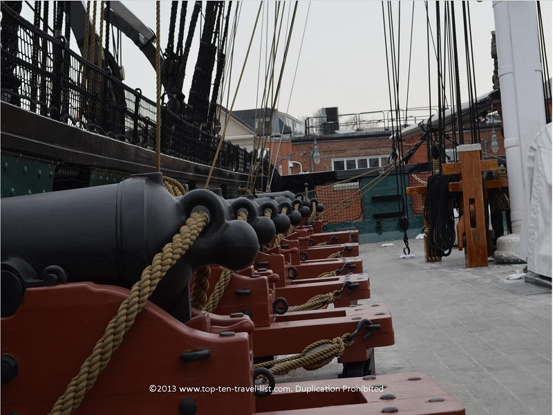 Rows of canons on USS Constitution - The Freedom Trail