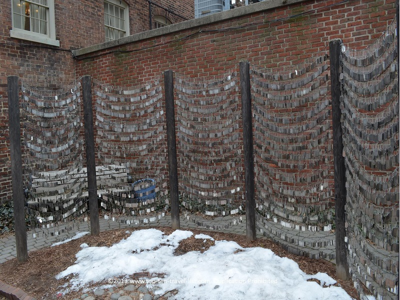 Dog tag garden memorial by Old North Church - The Freedom Trail