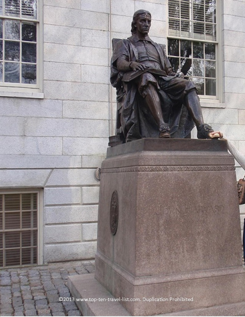 John Harvard statue at Harvard University in Cambridge, MA
