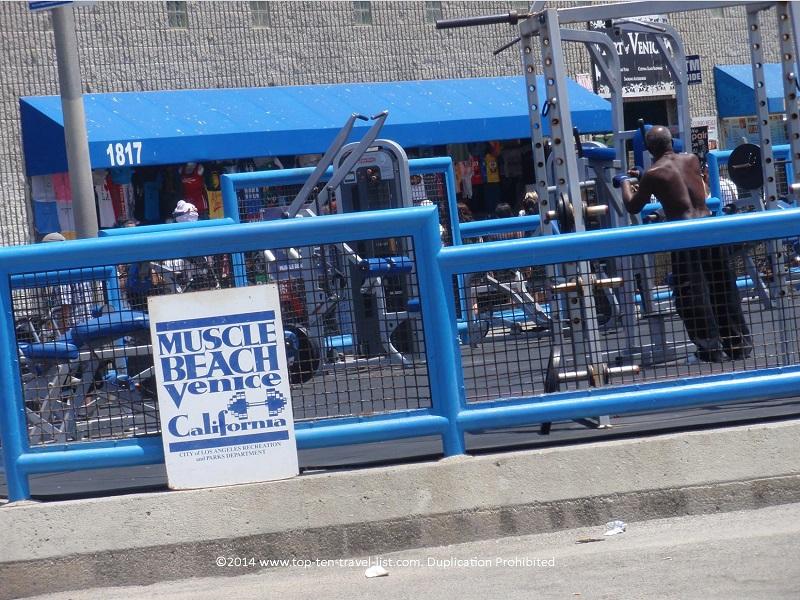 Muscle Beach Venice weight training equipment