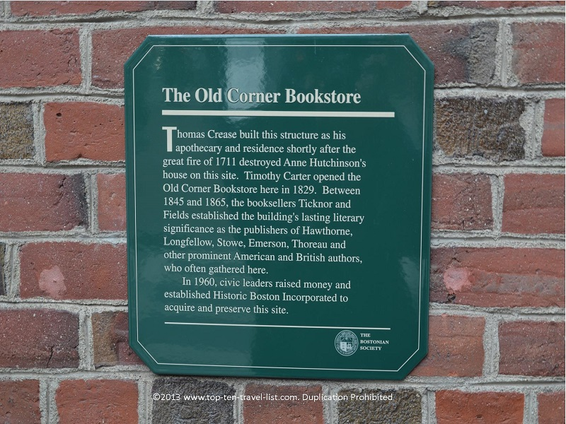 Old Corner Bookstore - The Freedom Trail