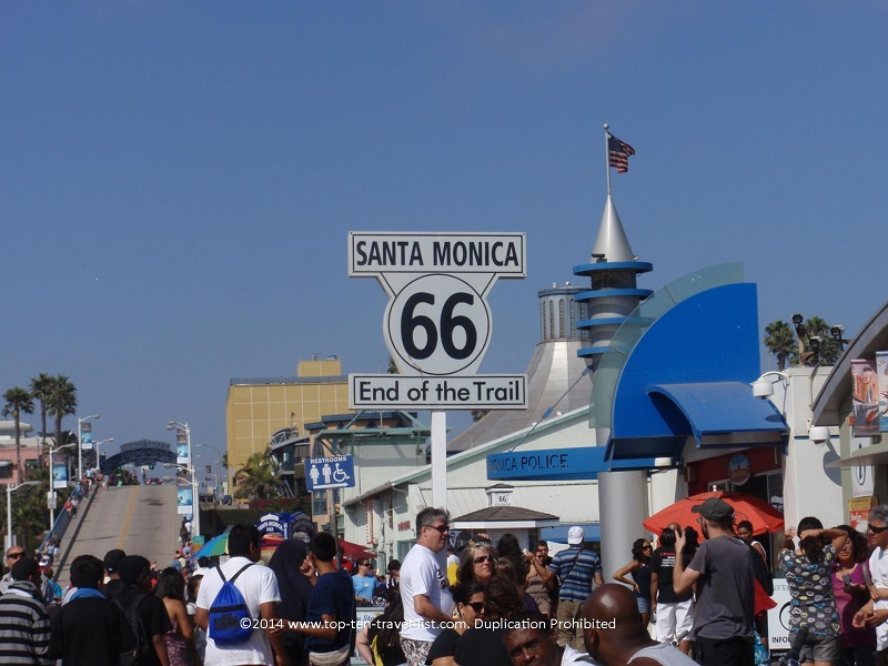 Route 66 sign at Santa Monica Pier in California