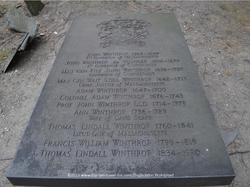 John Winthrop grave - King's Chapel Burying Ground - The Freedom Trail