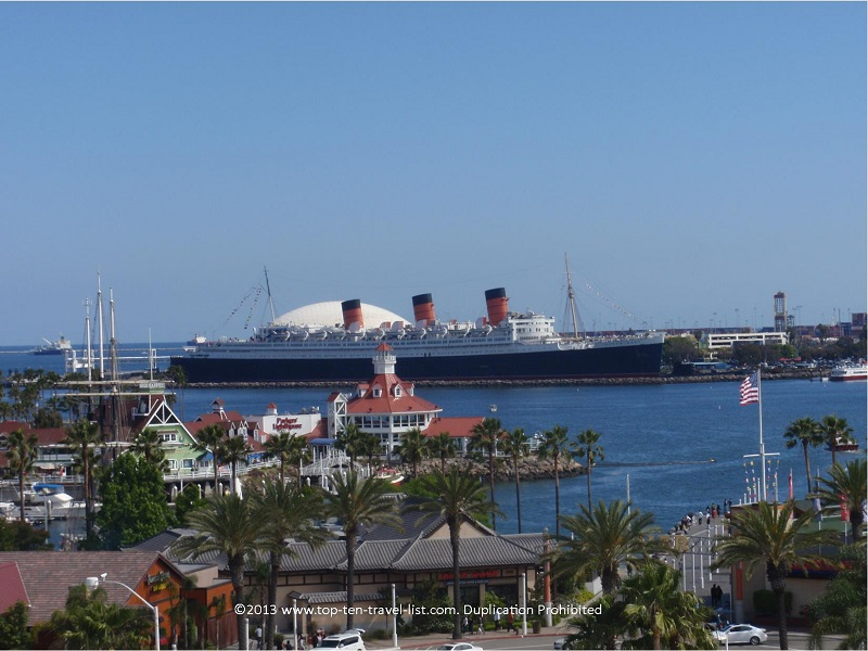 A view of Shoreline Village and the Queen Mary