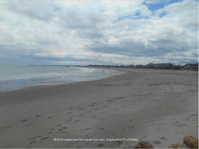 A gorgeous cloudy day at Scarborough State Beach in Narrgansett, Rhode Island