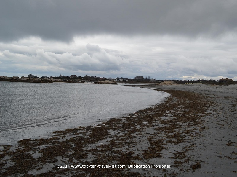 Dark cloudy sky at Gooseberry Beach in Newport, Rhode Island