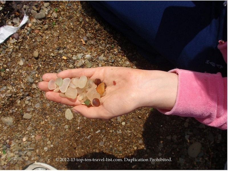 Handfuls of Sea Glass at Ft. Bragg, California's Glass Beach