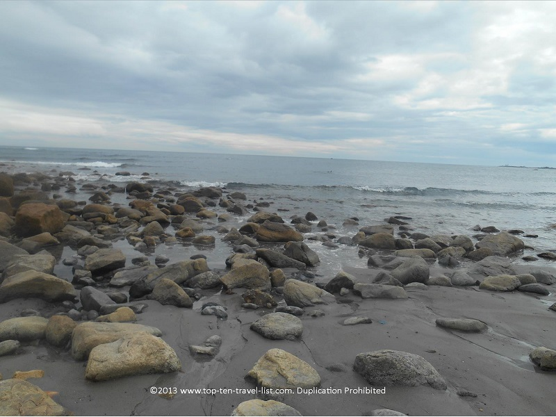 Rocks at Scarborough State Beach in Narragansett, Rhode Island