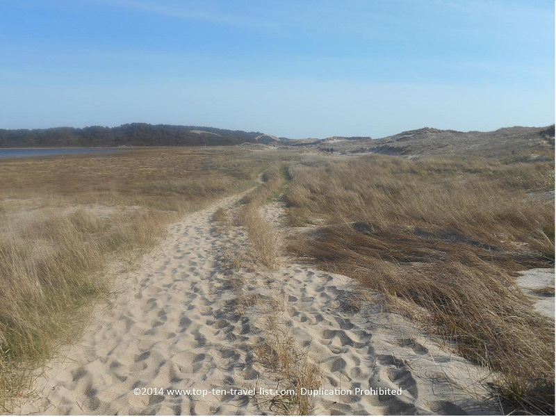 Walking through the sand on Cape Cod's Great Island Trail