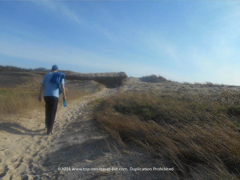 A sandy uphill climb on Cape Cod's Great Island Trail