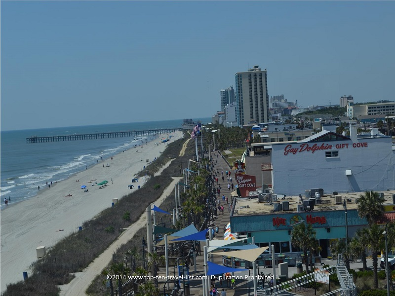 Boardwalk and beach in Myrtle Beach, SC