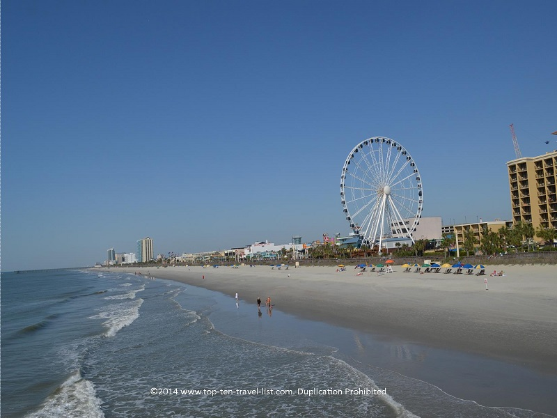 Views of the Myrtle Beach Sky Wheel and beachfront area