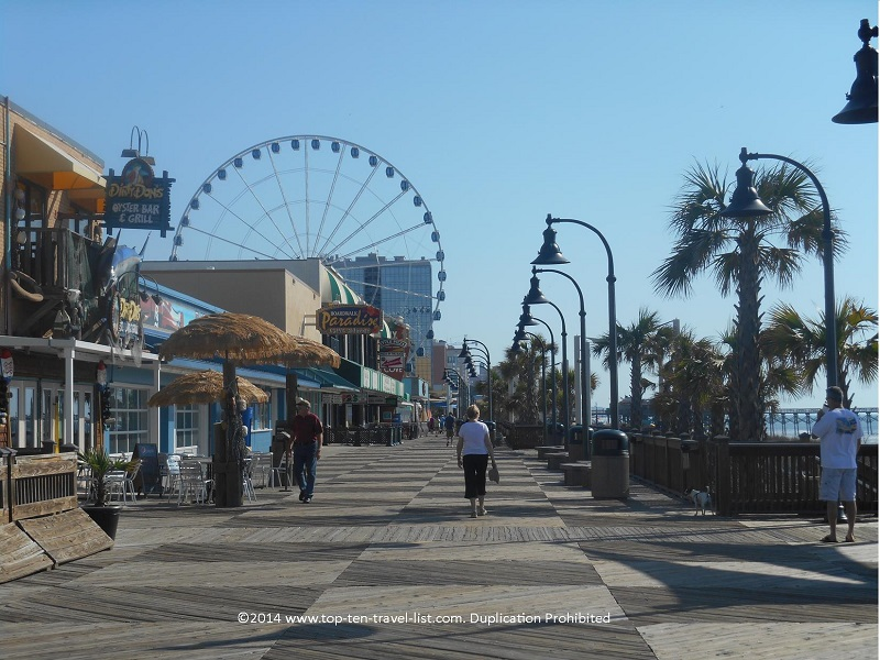 Walking along the Myrtle Beach boardwalk