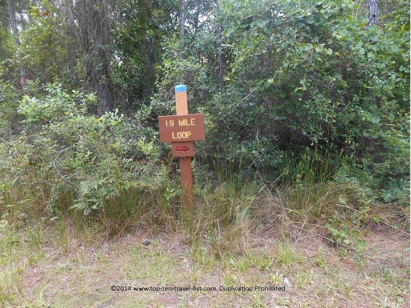 1.9 mile loop sign at Jay B. Starkey Wilderness Park in New Port Richey, FL
