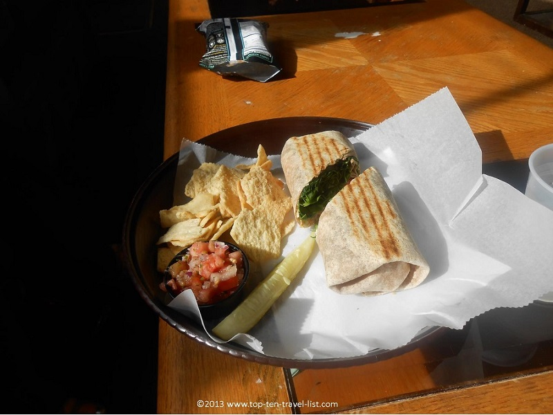 Veggie wrap at NU Cafe in Worcester, Massachusetts