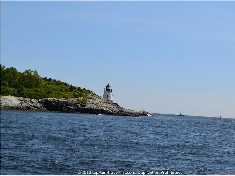View of Castle Hill lighthouse from the Gansett cruise in Newport, Rhode Island