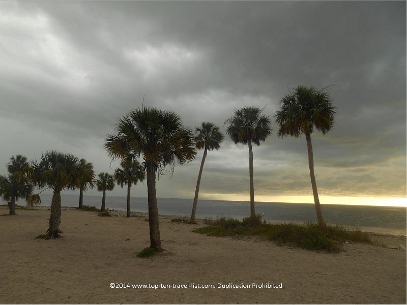 Dark stormy skies at Sunset Beach in Tarpon Springs, Florida