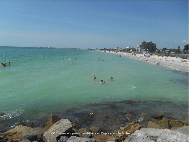 Looking down the beach from the jetty - Pass-A-Grille Beach in St. Petersburg, Florida