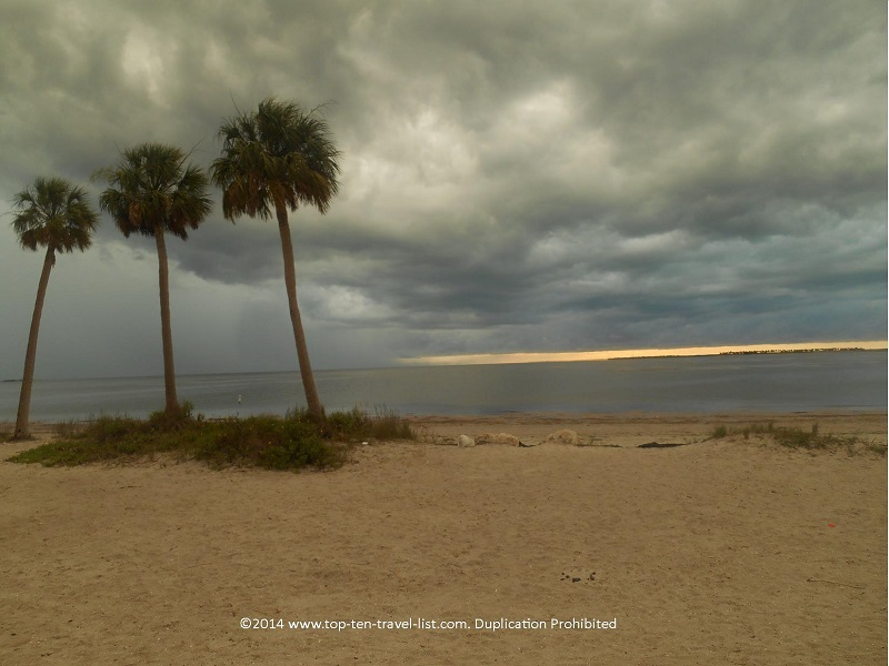 Low storm clouds over Sunset Beach in Tarpon Springs, Florida