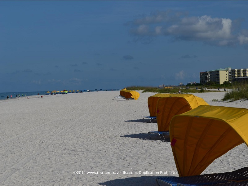 Row of cabanas at St. Pete Municipal Beach in Treasure Island, Florida