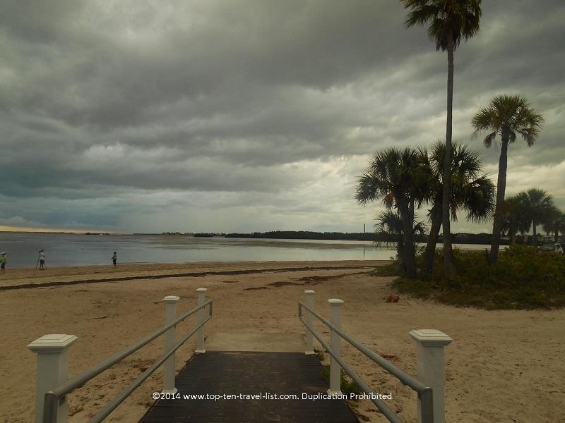 Walkway at Sunset Beach in Tarpon Springs, Florida