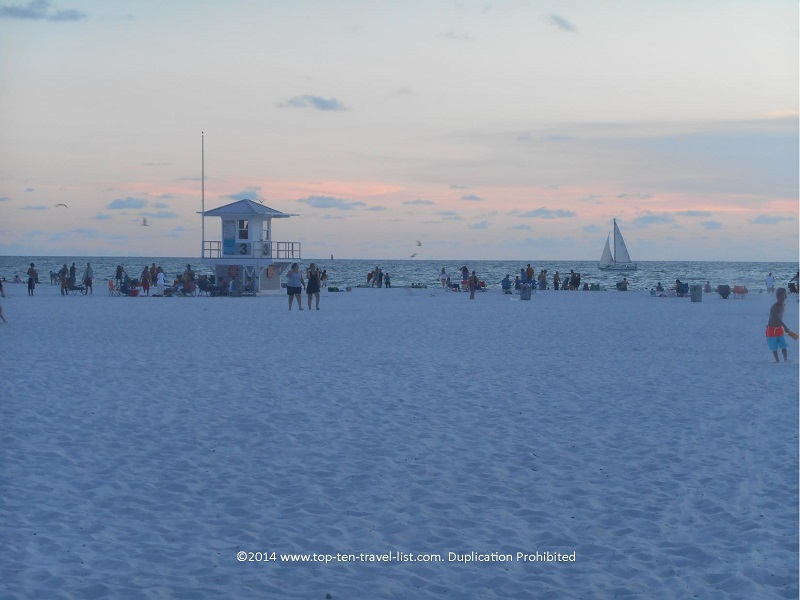 Views of the white, smooth sand at Clearwater Beach in Florida