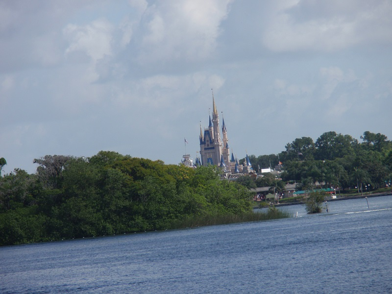 View of the Magic Kingdom castle from the boat ride - Walt Disney World