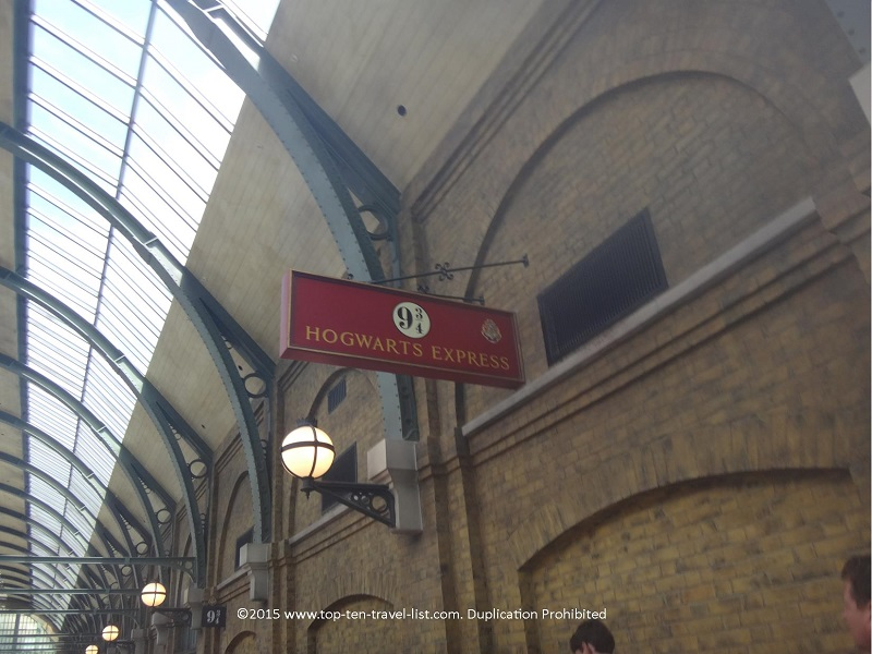 The Platform 9 and 3 quarters sign at King's Cross Station.